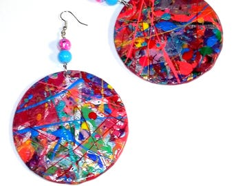 Too Hot To Handle Handpainted Wood Earrings