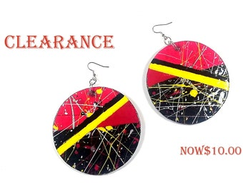 Red Sunset handpainted handmade wood earrings