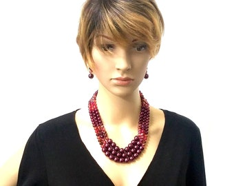 Burgundy Pearl and Crystal Set