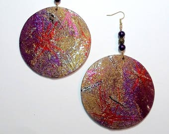 Dazzling Diva Hand painted Wood Earrings