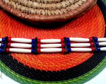 Red, Blue, Black and Bone 3 row Choker