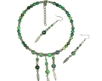 African Turquoise Native Gemstone Choker Set (Feathers)