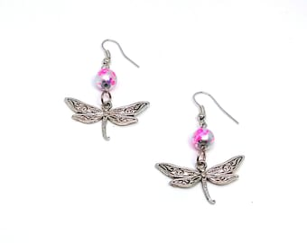 Multi-colored Dragonfly Dangle Earrings