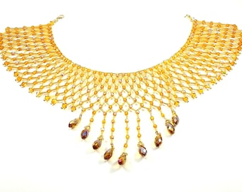Amber Swarovski Crystal Collar Necklace