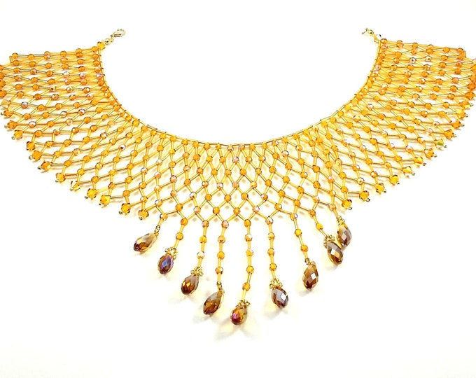 Featured listing image: Amber Swarovski Crystal Collar Necklace