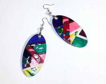 Retro Fun Hand-painted Wood Earrings
