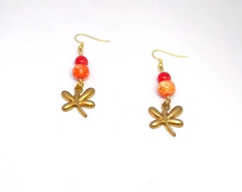 Scarlet and Burnt Orange multi-colored Butterfly Dangles