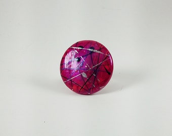 Enchanting Fuchsia Fused Glass and Hand-painted Ring
