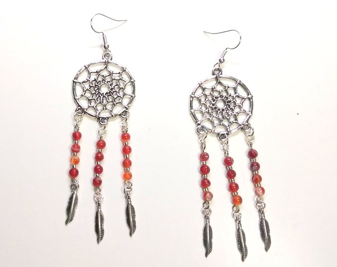 Featured listing image: Red Agate Dream Catcher Earrings