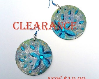 Blue Star Hand Painted Handmade Wood Earrings