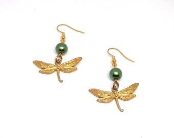 Green Pine and Dragonfly Dangle Earrings
