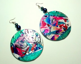 Mind Blowing Fun Hand-painted Wood Earrings