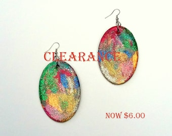 Glitter Gal Hand-painted Wood Earrings