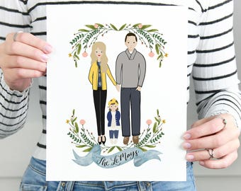 Custom portrait of couple, Custom couple illustration, personalized portrait, family illustration with pets, wedding gift, wedding portrait
