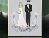 Wedding gift, custom wedding portrait, wedding illustration, bride and groom illustration, wedding dress illustration, couple portrait