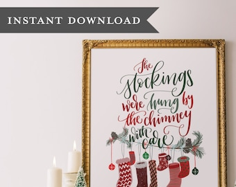 Calligraphy printable, Christmas print, Printable christmas art, Christmas wall art, Holiday printable, Printable art, Christmas printable