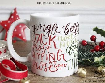 Noël tasse à café, tasse sagesse imprimable en céramique, tasse à café subway art, mug de Noël, cadeau de tasse de café unique, calligraphie main lettré