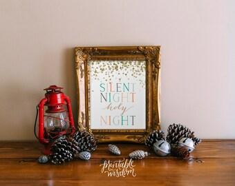 Christmas printable wall art, print decor poster, christmas decoration, holiday typography, Silent night holy night, gold Printable Wisdom
