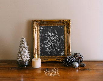 Christmas printable wisdom decor print wall art decoration, A Thrill of Hope Christian holiday decor typography INSTANT DOWNLOAD