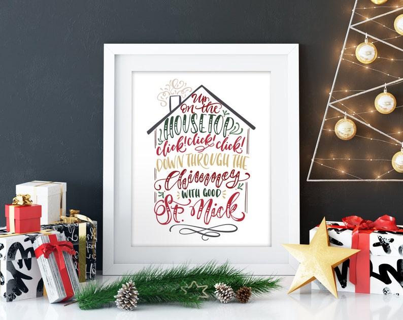 Up on the housetop Christmas print christmas decoration image 0