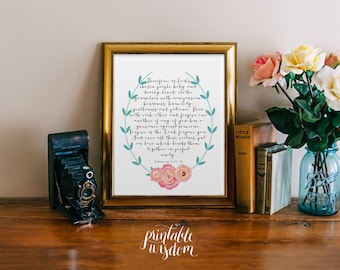 Printable Bible verse, Scripture Print Christian INSTANT DOWNLOAD laurel wall art decor poster, wedding quote - Colossians 3:12-14