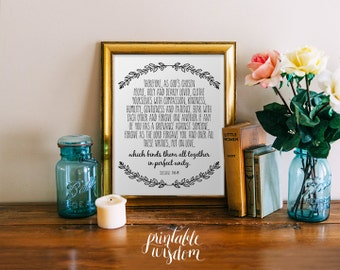 Printable Bible verse wall art, Scripture Print Christian wedding scripture decor, wedding quote Colossians 3:12-14 INSTANT DOWNLOAD