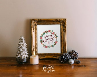 INSTANT DOWNLOAD Christmas printable decoration, holiday wall art decor Christmas rustic country, Merry Christmas y'all - digital typography