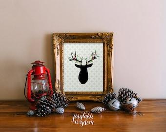 Christmas printable wall art, deer silhouette, holiday decor decoration digital illustration INSTANT DOWNLOAD Printable Wisdom