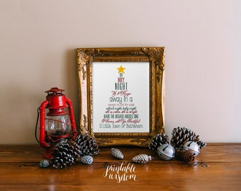 Christmas printable wall art print subway art christmas tree holiday decor decoration digital illustration carols Christian - download