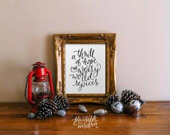 Christmas Decoration wall art print Printable Wisdom, A thrill of hope, Christmas art holiday print, Christian Christmas decor calligraphy