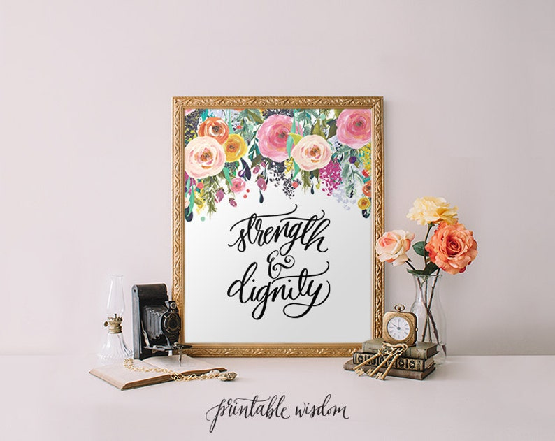 image about Printable Wisdom named Printable Knowledge Electricity and dignity, Proverbs 31 Bible Verse Artwork print calligraphy wall artwork decor, inspirational estimate, Printable Artwork