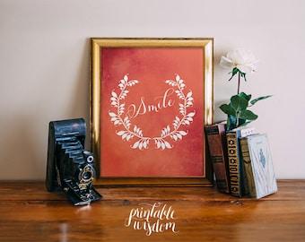 Printable wall art decor print poster, calligraphy laurel typography digital printables custom home nursery children's room - Smile