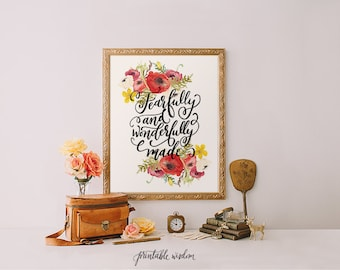 Printable Wisdom Nursery Bible Verse Art Printable print, Scripture art, Inspirational quote, fearfully wonderfully made Psalm 139:14