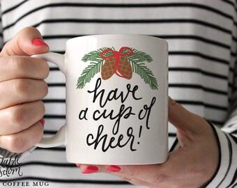 Christmas Coffee Mug, Printable Wisdom Ceramic mug, coffee quote mug, Christmas mug, unique coffee mug gift, hand lettered calligraphy