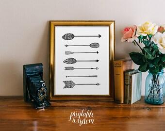 Arrow Art Print, Printable art wall decor, INSTANT DOWNLOAD tribal aztec ikat poster art - hand drawn whimsical graphic digital