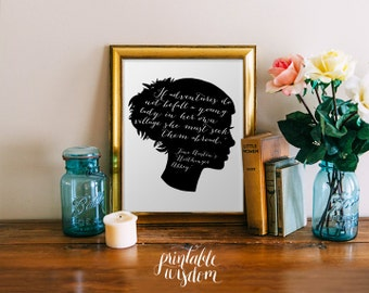 Jane Austen quote art wall art printable wall decor print inspirational quote poster jane austen silhouette art digital Printable Wisdom