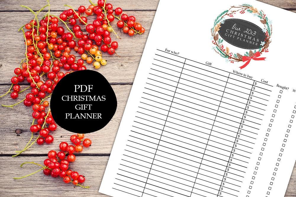 Christmas Gift Planner Printable PDF Shopping List