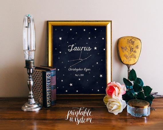 Nursery Zodiac Astrology art printable, personalized name nursery decor  print, custom, digital typography stars astrological sign