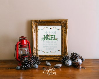 Christian Christmas decor printable wall art decor print NOEL decoration the first Noel holiday decor typography INSTANT DOWNLOAD digital