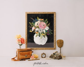 Still Life Art print, Printable Wisdom, wall art printable decor, printable art, still life print floral print, floral painting print,