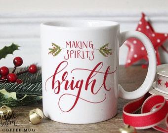 Tasse à café Noël, imprimable sagesse tasse, café esprits mug lumineux Noël tasse unique mug calligraphie à la main avec cadeau