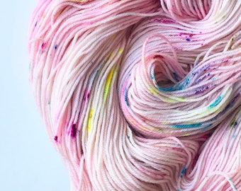 Bubblegum Rainbow Speckled Sock Yarn
