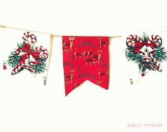 Christmas Bunting Banner, Vintage Woodland Bunting, Candy Cane Bunting Banner, Christmas Decorations, 9ft. Christmas Bunting