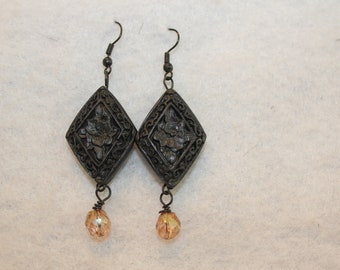 Carved Black Cinnabar Earrings