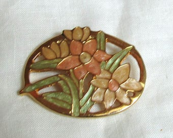 Floral Cloissone Brooch, Pin, Vintage Item, Spring Flowers, Daffodils, Yellow, Peach, Green, Gold Tone Metal