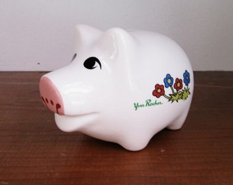 Yves Rocher Piggy Bank, French, Made in France, Vintage Item, Savings, Nursery Decor, Baby Shower Gift
