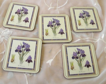 Botanical, Iris Pimpernel Coasters, Set of 5, Vintage Items, Original Box, Cork Backing, Made in England