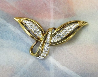 Clear Rhinestone, Abstract Bird Brooch, Pin, Wings, Flying, In Flight, Gold Tone, Vintage, Jacket, Scarf, Lapel