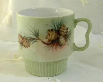 Hand Painted China Mug, Pine Cones, Branches, Green, Brown, Yellow, Orange, 1960s, Local China Painting Artist
