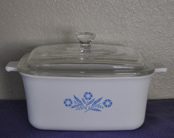 Corningware Blue Corn Flower Casserole Dish